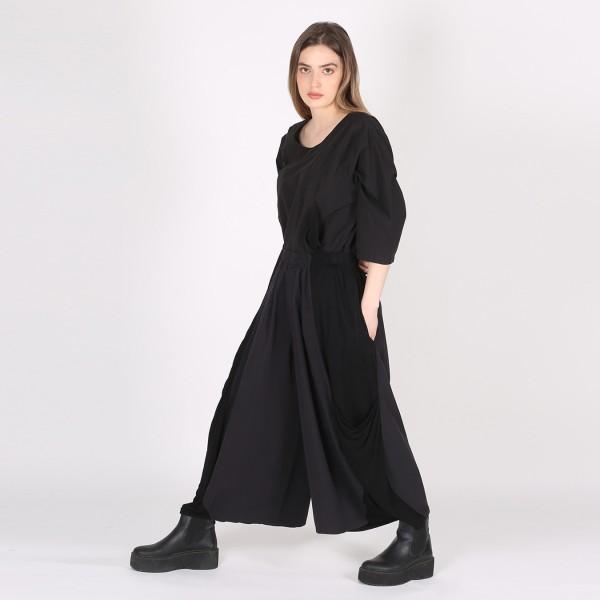 Hose Baumwolle Jersey weit Schwarz