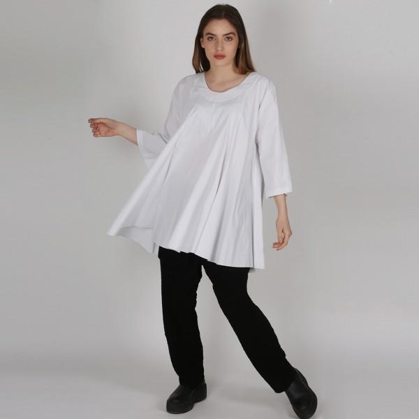 Long-Shirt Bengalin A-Linie Weiß