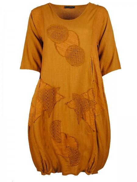 Baumwoll-Kleid, 3/4-Arm mit Strick-Motiven Gr. 46/48