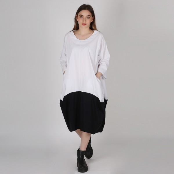 Ballonkleid Bengalin Relaxed Schwarz/Weiß