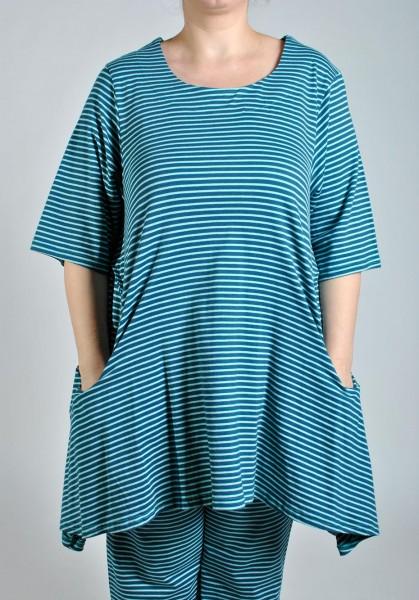 Tunika Long-Shirt Jersey Gestreift Türkis