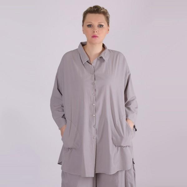 Hemd Bluse Baumwolle Grau