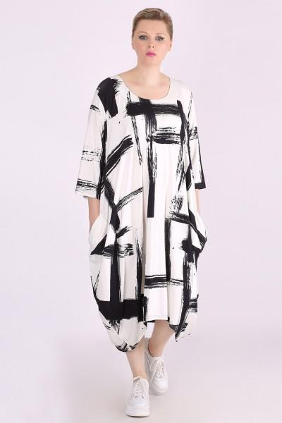 "Ballon Kleid Jersey Allover-Print ""Pinselstriche"""