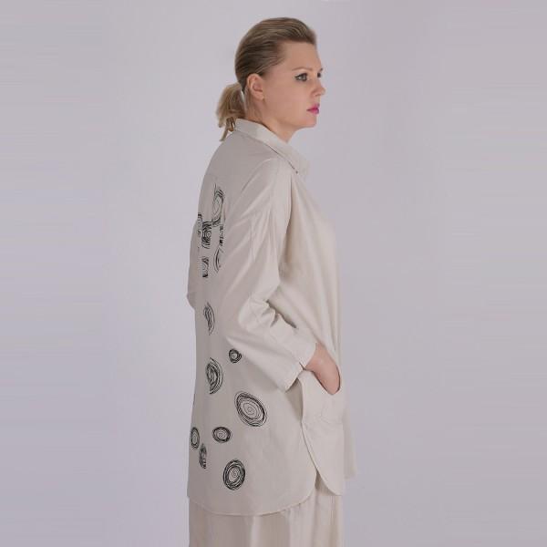 Hemd Bluse Baumwolle Beige
