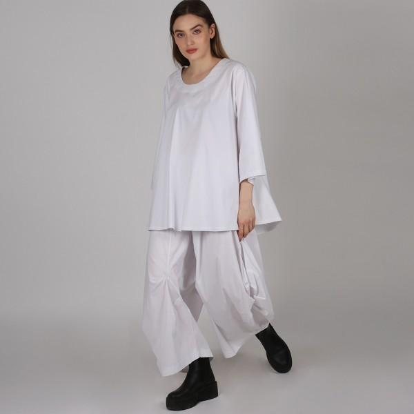 Bluse Bengalin A-Linie Weiß