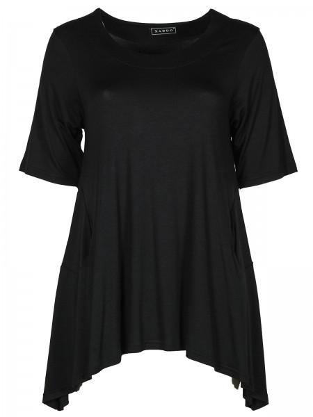 Tunika Jersey Schwarz mit Taschen