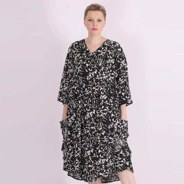 Kleid mit Allover Printing Schwarz/Weiß