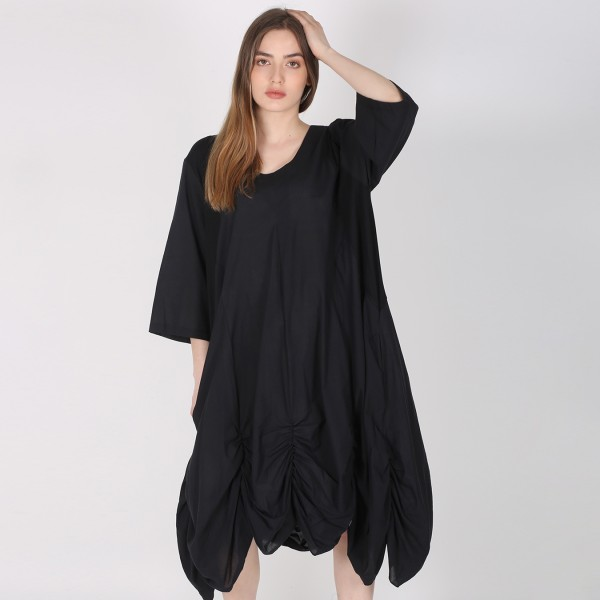 Kleid elegant mit gerafftem Saum in Schwarz