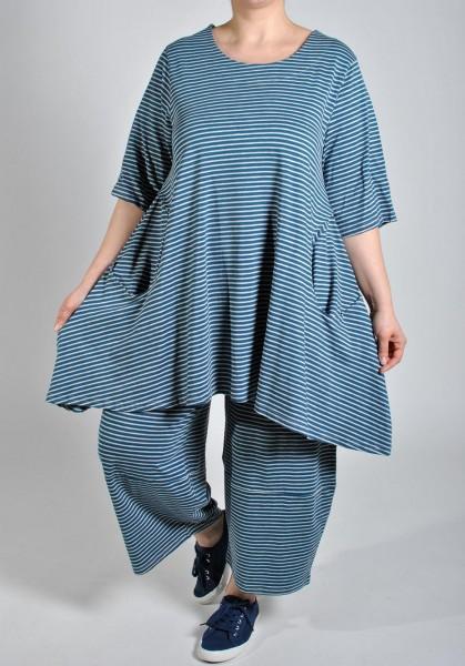 Tunika Long-Shirt Jersey Gestreift Blau