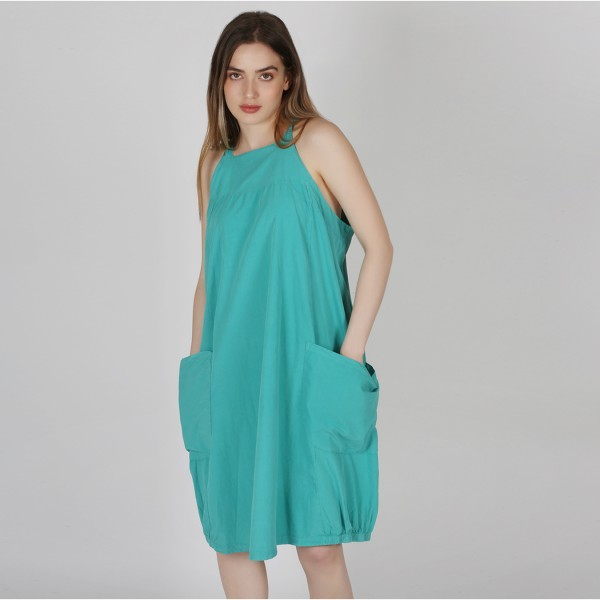 Kleid Baumwolle ärmellos Türkis
