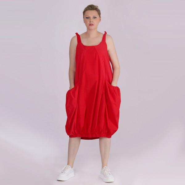 Kleid Baumwolle ärmellos Rot