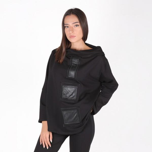 Schwarzer Pullover mit Patches in Leder-Optik