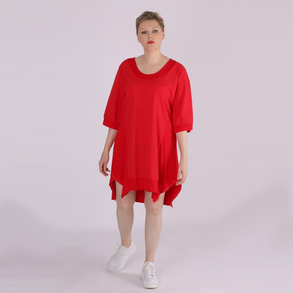 Lang Tunika Baumwolle Jersey Rot