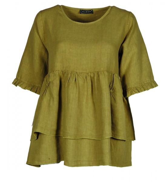 kurzes Kleid Leinen Olivgrün