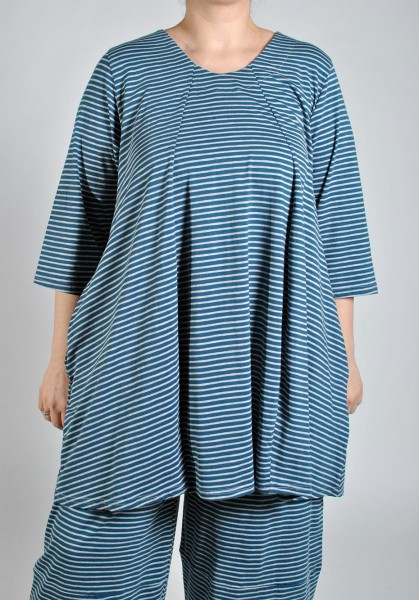 Shirt Tunika A-Linie Jersey Gestreift Blau