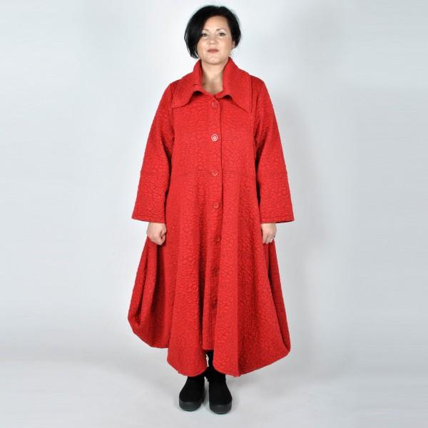 Mantel Bouclé Maxi-Länge Rot