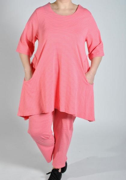 Tunika Long-Shirt Jersey Gestreift Pink