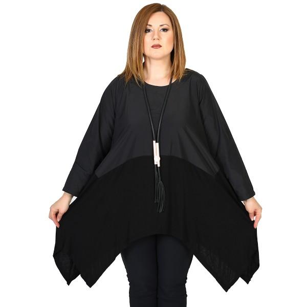Tunika aus hochwertigem Jersey-Taft Mix Schwarz
