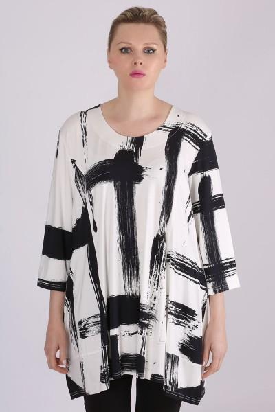 "Tunika Shirt mit Allover-Print ""Pinselstriche"""