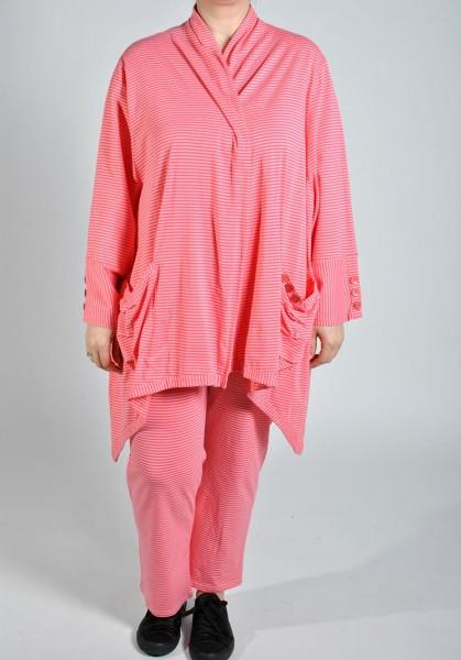 Jacke Weste Jersey Gestreift Pink