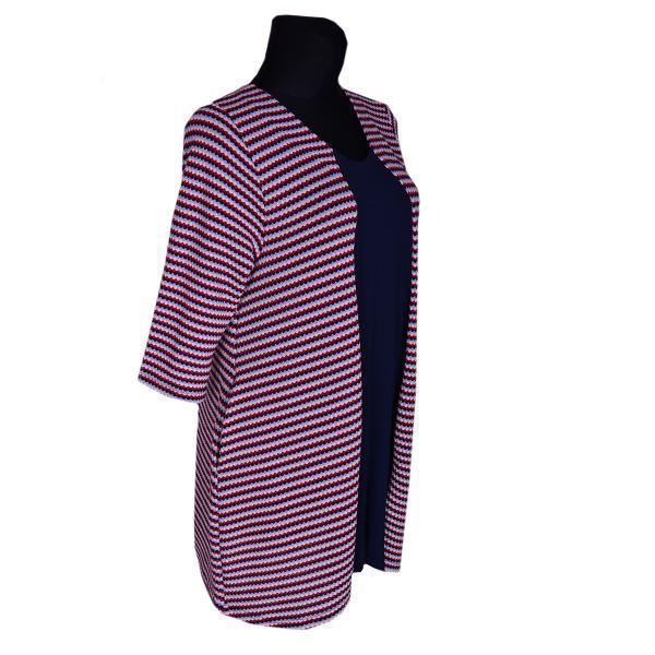 Kleid A-Linie Rot/Blau/Weiß gestreift