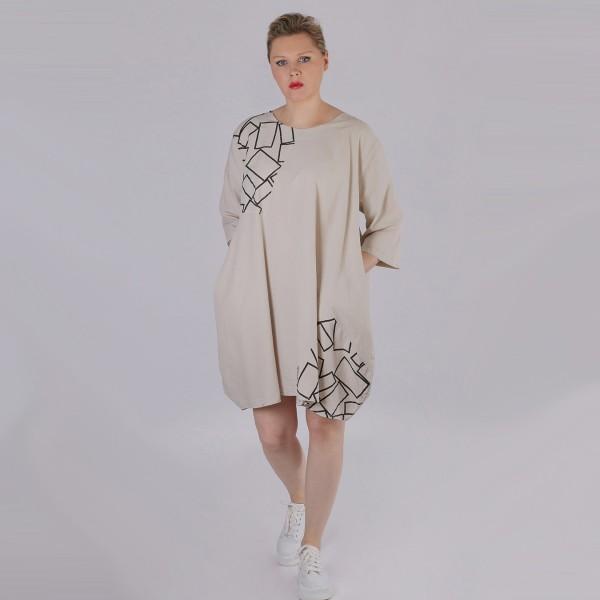 Kleid Baumwolle Beige