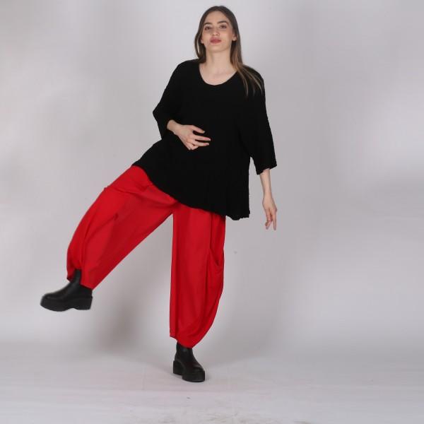 Hose Baumwolle Jersey weit Rot