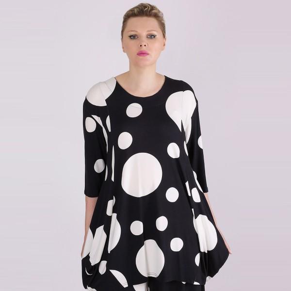 Tunika Jersey Shirt Allover-Print Kreise