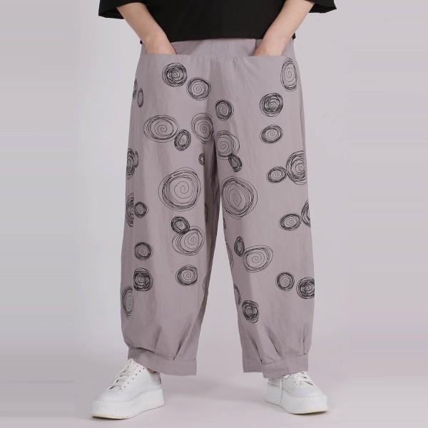 Hose Baumwolle Grau Kreisel Muster