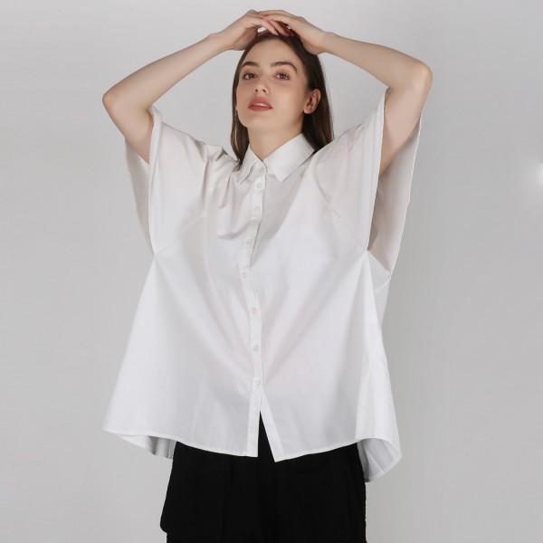 Hemdbluse kurzarm Damen Weiß