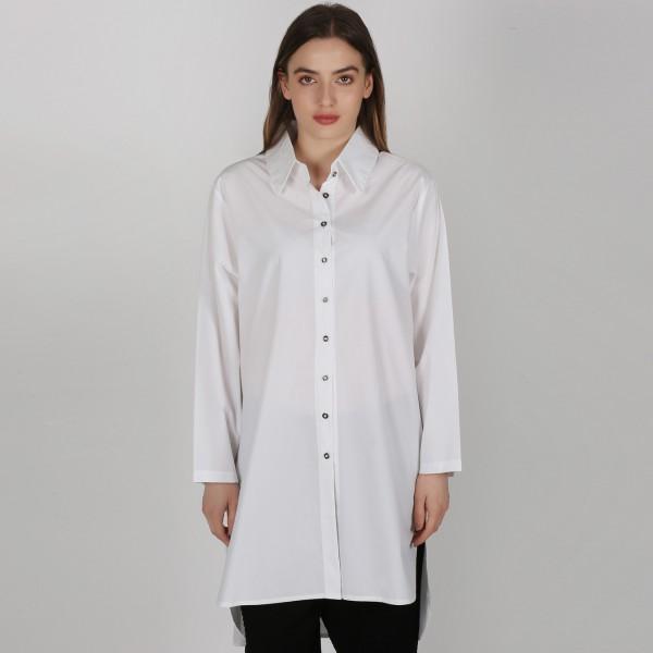 Hemdbluse Damen Weiß