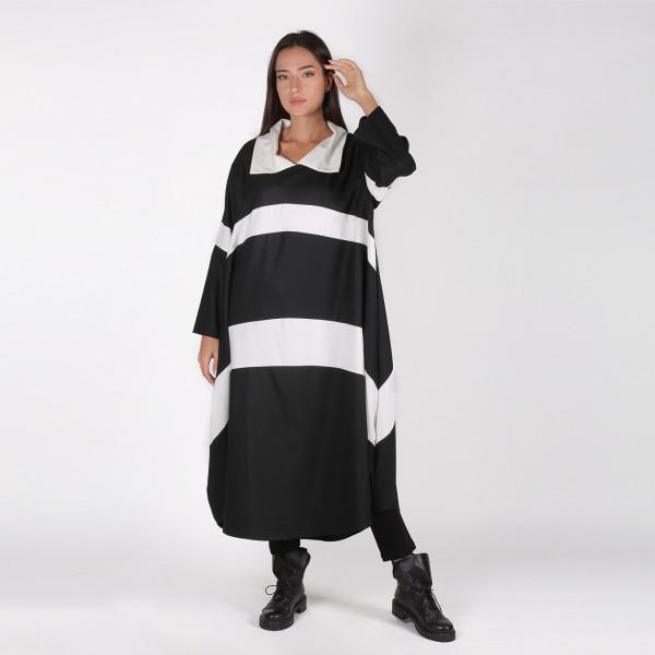 Ballon Kleid Schwarz / Weiß Streifen