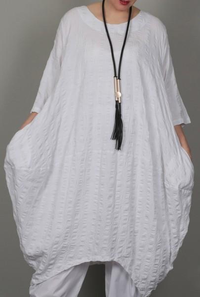 Kleid Ballon Long-Shirt Waffle Weiß